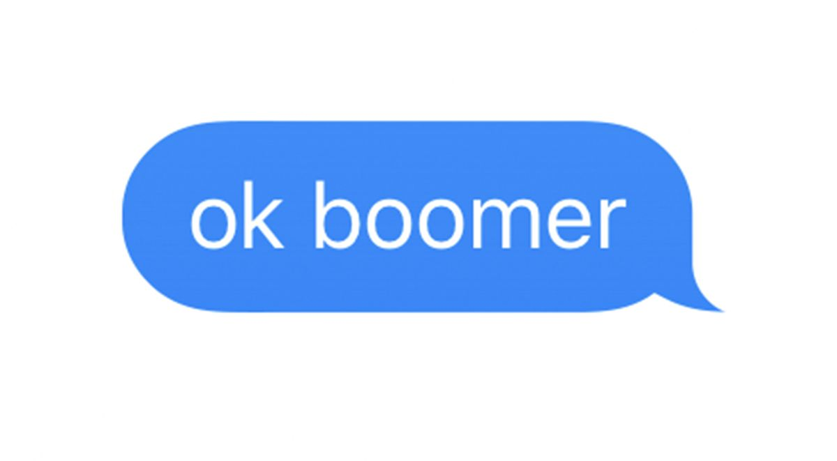 Text message with text 'ok boomer'.
